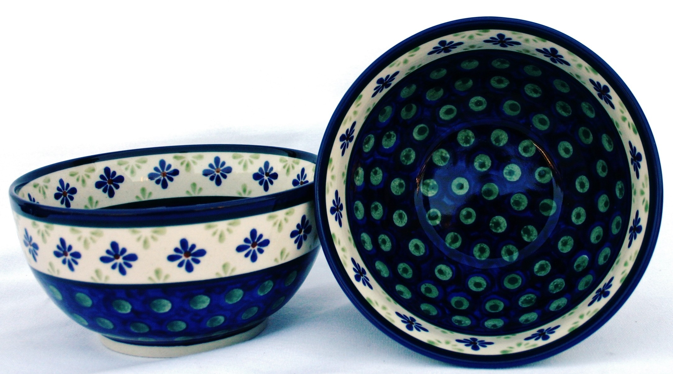 Polish Pottery 2 cup FLURRY OF JOY Stoneware Cereal Bowls | CLASSIC