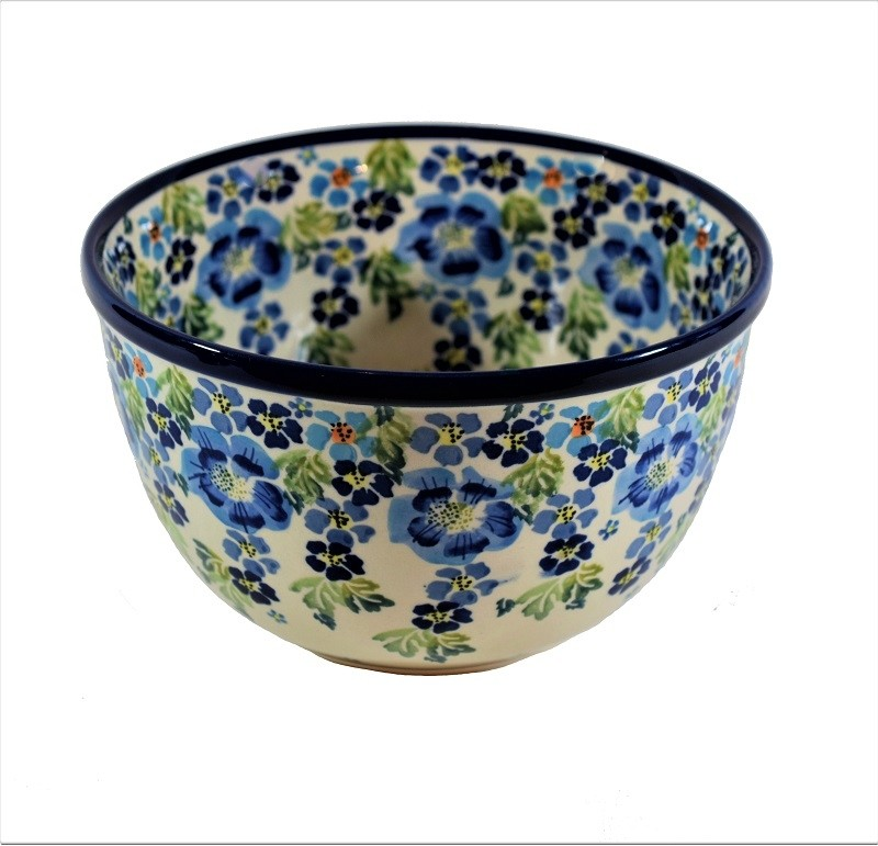 """Pottery Avenue True Blues 6"""" Stoneware Mixing Bowl (SM) - Tope View"""