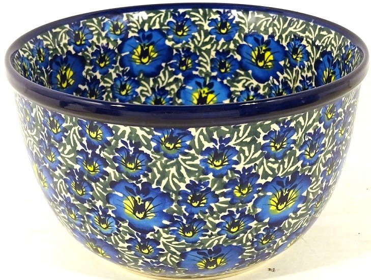 "Polish Pottery 8"" BLUE LAGOON Mixing Bowl 