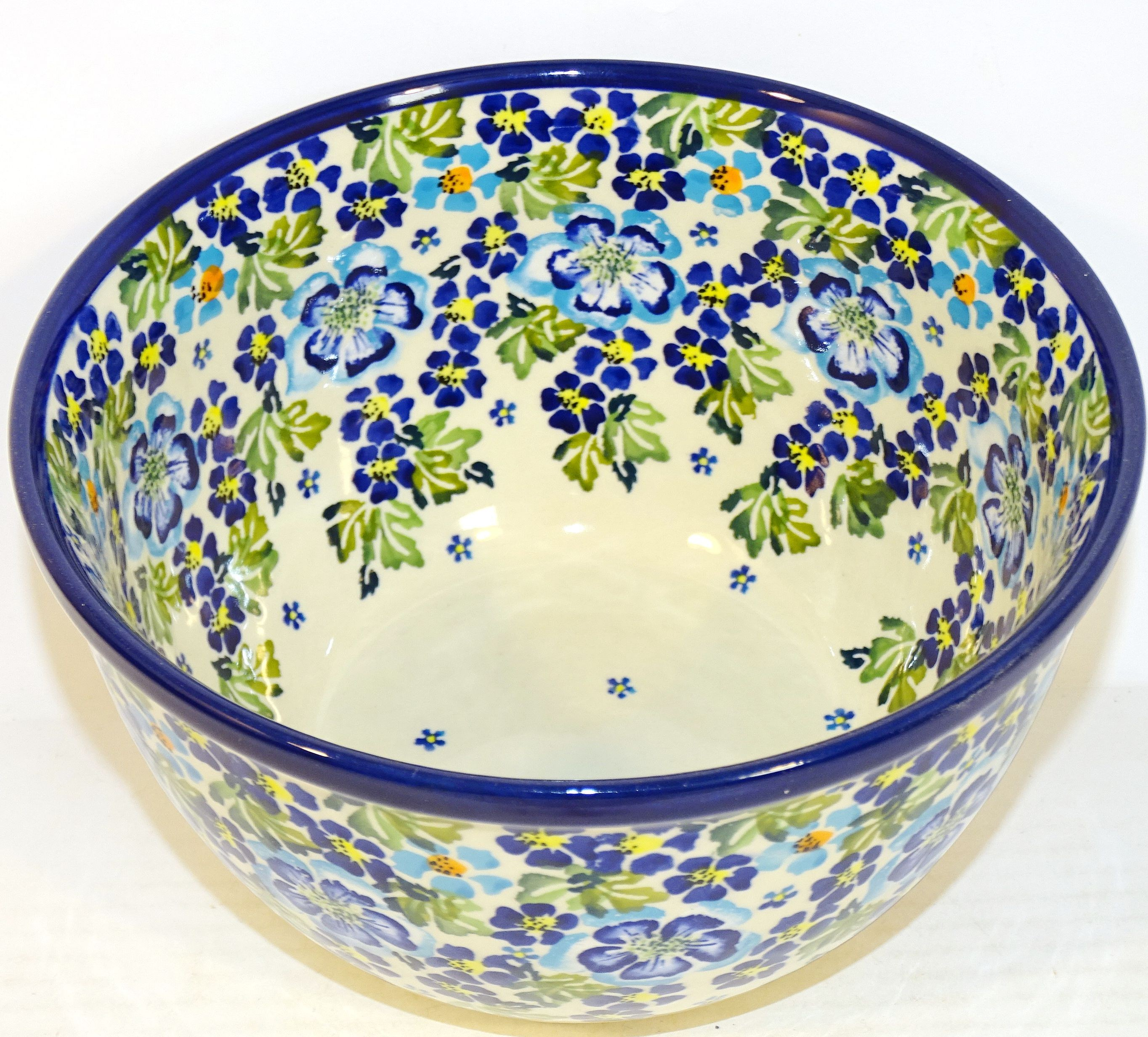 "Polish Pottery 8"" TRUE BLUES Mixing Bowl 