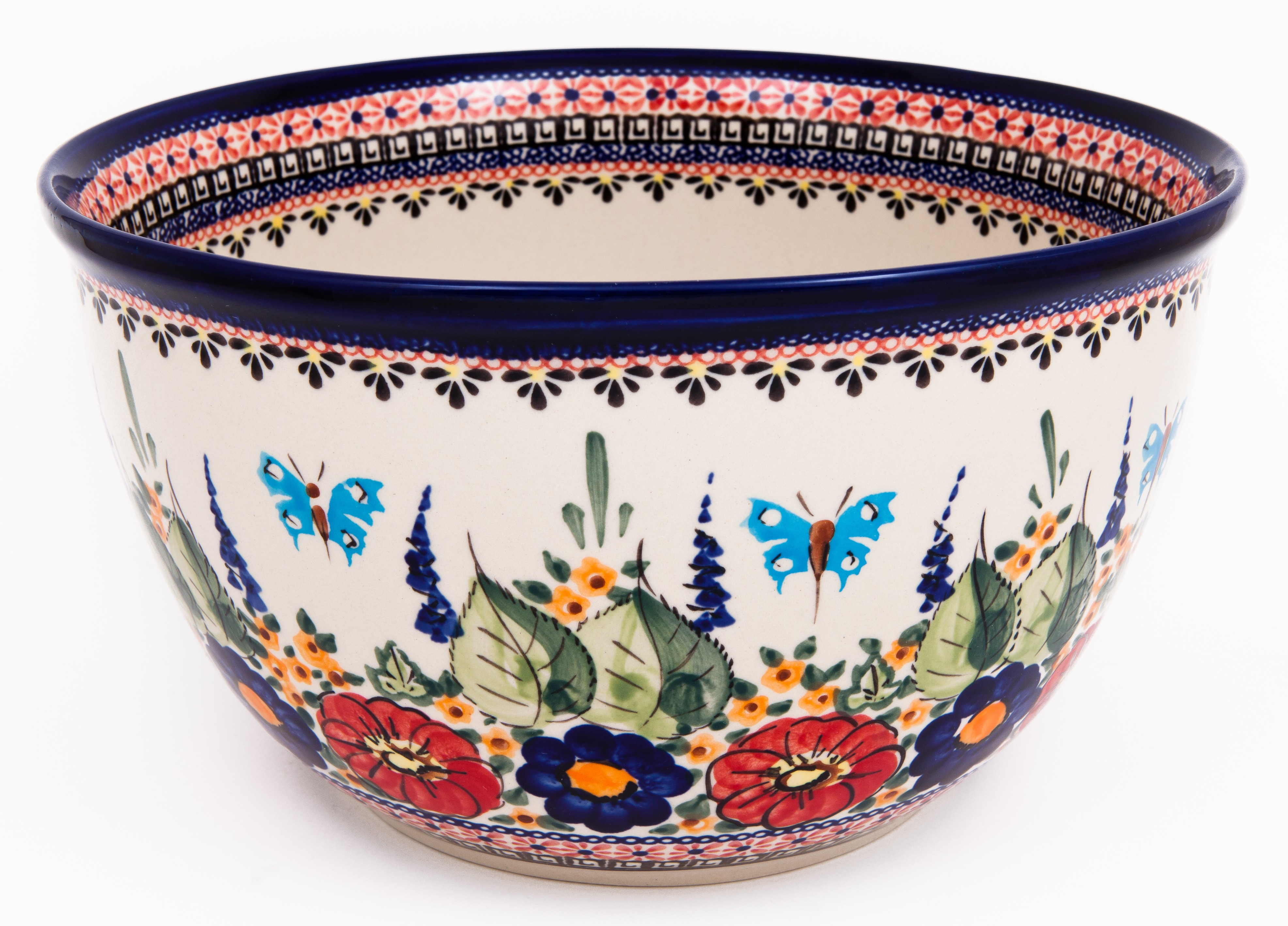 Polish Pottery BUTTERFLY MERRY MAKING 14-Cup Stoneware Mixing Bowl   UNIKAT