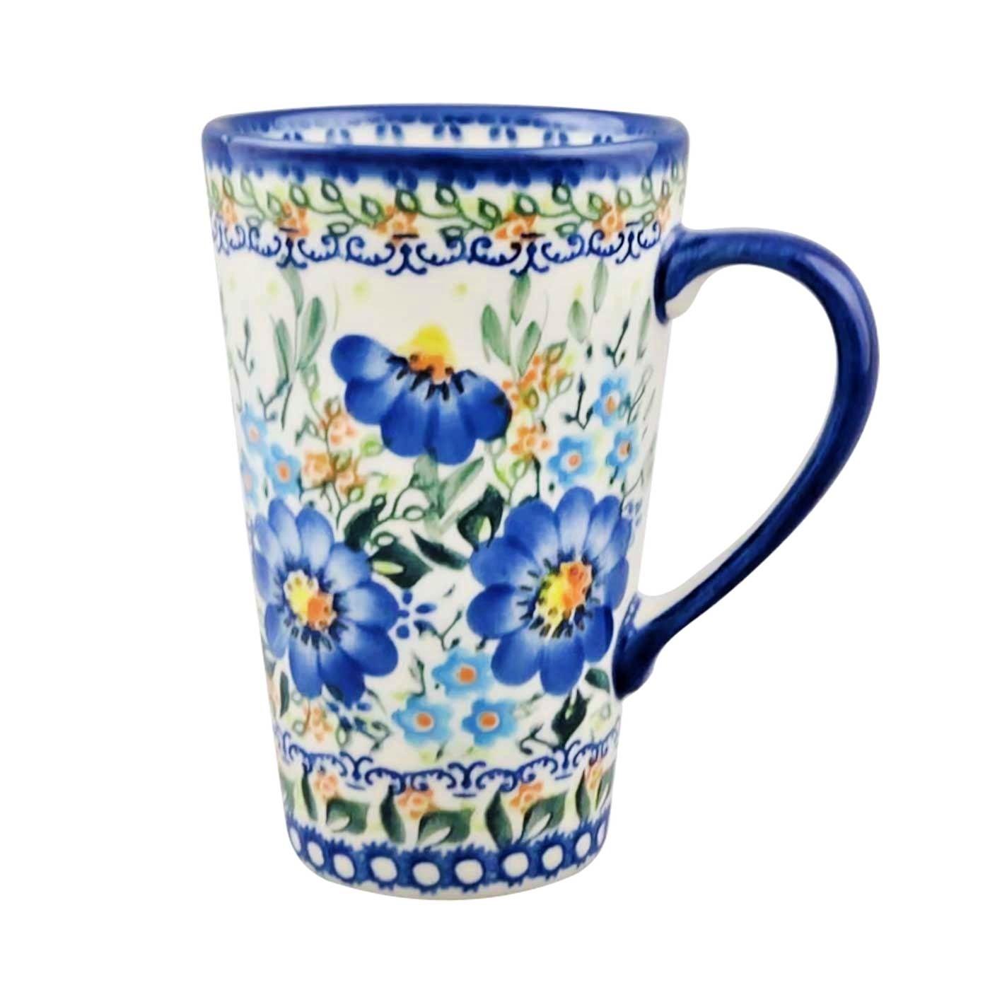 Polish Pottery Blue Buzz 13 5 Oz Stoneware Travel Mug Pottery Avenue
