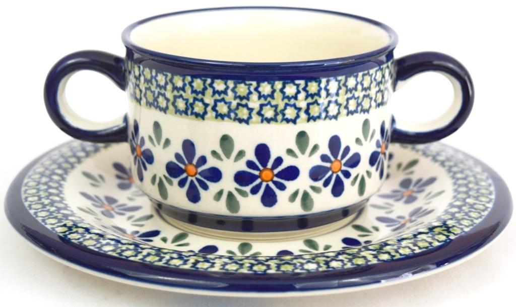 Polish Pottery SWEETIE PIE Stoneware Soup Cup & Sacuer | ARTISAN