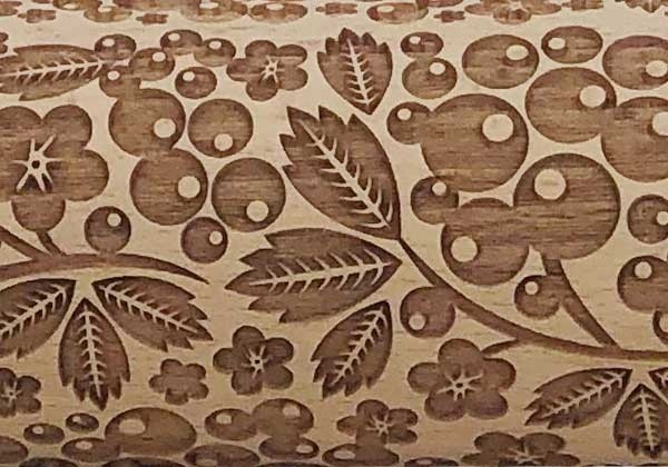 """Pottery Avenue Brings Wooden Corner's Embossed 10"""" Rolling Pin - LEP-164-Berry Pie"""