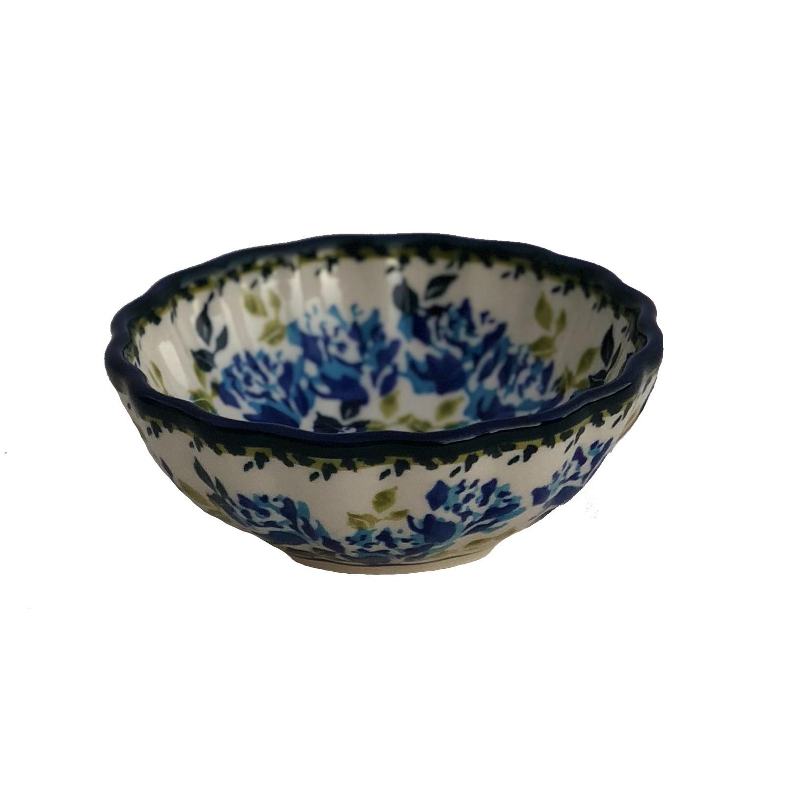 Pottery Avenue Small Scalloped Stoneware Bowl - 1518-DU208 Blue Flower