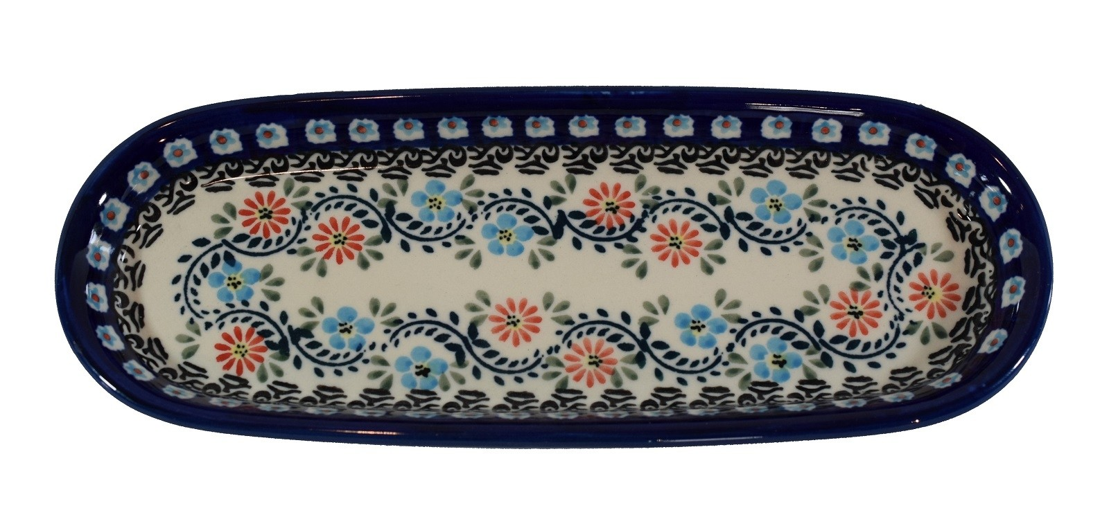 """Polish Pottery 11"""" Heritage Home Serving Tray 