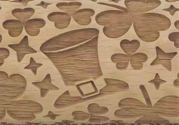 Pottery Avenue Brings Wooden Corner's Embossed Rolling Pin - SEP-100-St. Patrick's Day