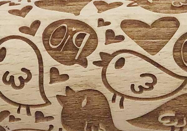 Pottery Avenue Brings Wooden Corner's Embossed Rolling Pin - SEP-100-Love Birds
