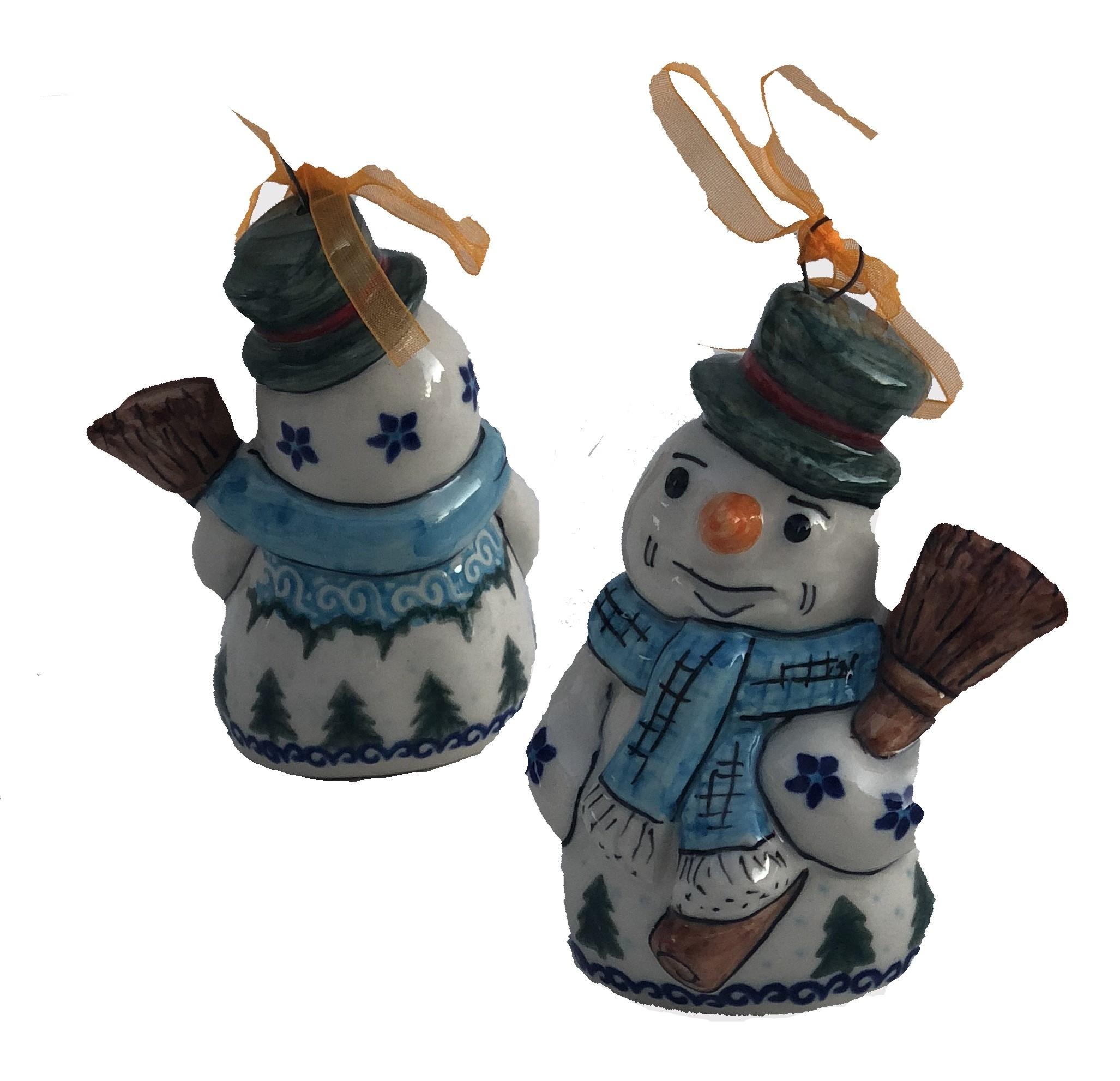 """Pottery Avenue Vena Winter Magic 4"""" Snowman Stoneware Ornament"""