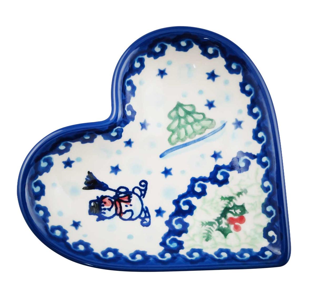 Pottery Avenue Stoneware Heart Plate - V392-A231 SNOWMAN UNIKAT