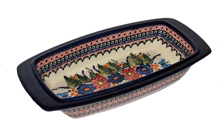 """Pottery Avenue ButterflY Merry Making 17"""" Rectangle Stoneware Baker 