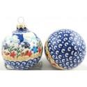 Polish Pottery Vena DOLPHIN Christmas Round Stoneware Ornament