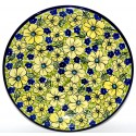 "Polish Pottery BLUE CITRINE 11"" Stoneware Dinner Plate 