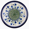"Polish Pottery BLUE TULIP 9.75"" Luncheon-Dinner Stoneware Plate 