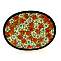 "Polish Pottery 11.5"" RED BACOPA Oval Plate 
