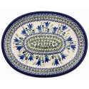 "Polish Pottery 11.5"" BLUE TULIPS Oval Plate 