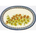 POLISH POTTERY STONEWARE ORCHID | Oval Plate
