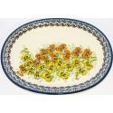 "Polish Pottery ORCHID 11.5"" Oval Stoneware Platter | UNIKAT"