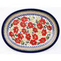 POLISH POTTERY STONEWARE LOVE BLOSSOMS | Oval Plate