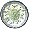 "Polish Pottery BLUE TULIP 11"" Stoneware Dinner Plate"