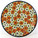 POLISH POTTERY STONEWARE RED BACOPA DINNER PLATE | UNIKAT
