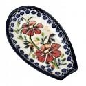 "Polish Pottery LOVE BLOSSOMS 5"" Stoneware Spoon Rest | EX-UNIKAT"