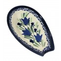 "Polish Pottery BLUE TULIP 5"" Stoneware Spoon Rest 