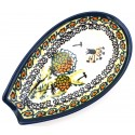 "Polish Pottery WISHFUL 5"" Stoneware Spoon Rest 