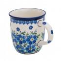Polish Pottery MOD FLORAL 12-oz Stoneware Coffee, Tea, Cocoa Mug | ARTISAN