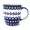 POLISH POTTERY STONEWARE MUG | FLOWERING PEACOCK
