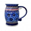 Polish Pottery BLUE PANSY Stoneware Mug-Stein | UNIKAT