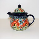 Polish Pottery CHAMPAGNE Personal 10-oz Stoneware Teapot   UNIKAT