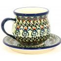 Polish Pottery BUGGSY Espresso-Demitasse Stoneware Cup & Saucer | ARTISAN