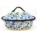 "Polish Pottery TRUE BLUES 12.5"" Covered Stoneware Casserole 