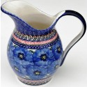 POLISH POTTERY STONEWARE BLUE PANSY PITCHER | UNIKAT