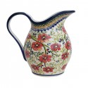 Polish Pottery LOVE BLOSSOMS 2- Quart Stoneware Pitcher | EX-UNIKAT