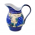 Polish Pottery GRAPES 2-Quart Stoneware Pitcher | ARTISAN