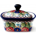 POLISH POTTERY STONEWARE BUTTERFLY MERRYMAKING | BUTTER BOX