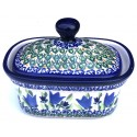 Polish Pottery BLUE TULIP 2-Cup Stoneware Butter Box | UNIKAT