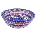 Polish Pottery BLUE PANSY Scalloped Stoneware Serving Bowl | UNIKAT