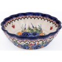 POLISH POTTERY STONEWARE SCALLOPED SERVING BOWL | STRAWBERRY BUTTERFLY