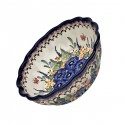 Polish Pottery STRAWBERRY BUTTERFLY Scalloped Stoneware Serving Bowl | UNIKAT