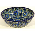 Polish Pottery BLUE LAGOON Scalloped Stoneware Serving Bowl | UNIKAT