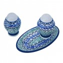 Polish Pottery CELEBRATE Salt & Pepper & Tray Stoneware Set | CLASSIC