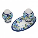 Polish Pottery TRUE BLUES Salt & Pepper & Tray Stoneware Set | ARTISAN