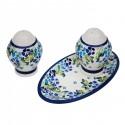 Polish Pottery TRUE BLUES Salt & Pepper & Tray Stoneware Set | ARTISAN