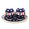 Polish Pottery AMERICANA Salt & Pepper & Tray Stoneware Set | CLASIC