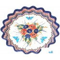 "Polish Pottery BUTTERFLY MERRY MAKING 13"" Stoneware Quiche-Pie Dish 