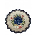 "Polish Pottery STRAWBERRY BUTTERFLY 13"" Stoneware Quiche-Pie Dish 