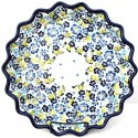 "Polish Pottery TRUE BLUES 13"" Stoneware Quiche-Pie Dish 